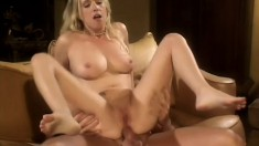 Adorable blonde with big boobs can't get enough of a hard cock deep in her anal hole