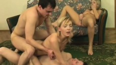 Two amateur couples meet up to swap and fuck hard side by side