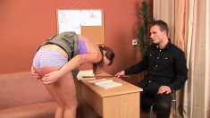Bad girl Skye gets her ass paddled by her strict school teacher
