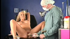Busty blonde whore goes to her doctor to have some vibrating fun