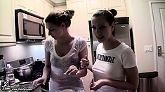 Cindy Hope is showing her friend how to cook a nice, delicious meal