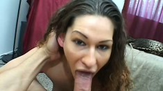 Petite brunette reveals her oral abilities and gets her snatch fucked hard POV style