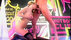 Stacked blonde dancer in black stockings gets pounded hard on stage