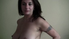 Naughty brunette Maika loves to tease by stroking her love button
