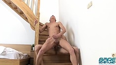 George Basten and John Hill have intense anal sex in the staircase
