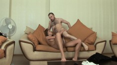 Horny couple have a naughty and exciting fuck fest on the new couch