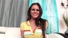 Voluptuous brunette Rachel Roxx sucks and strokes a shaft to orgasm