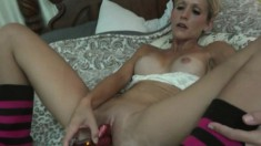 Blonde hottie loves to work her own cooch before playing with a cock