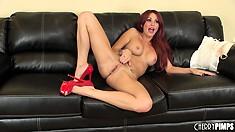 Red is the favorite color of nasty naked slut Monique Alexander