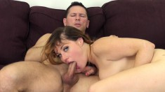 Naughty blonde Jessica gives a special blowjob and gets pounded rough
