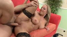Blonde bombshell wants to take in this guy's pulsating fuck rod