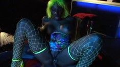 Ebony hottie Kelly Starr is at the club getting nailed and eating cum