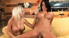 Lustful nymphos Eva and Tiffani getting drilled hard by the same guy