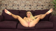 Stacked blonde with sexy long legs Natalia is eager to fuck a big cock