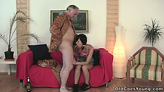 Natalia gives him a great blowjob getting that cock ready for the coming action