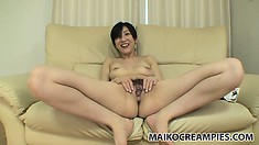 Asian slut smiles while sucking dick and being eaten out on camera