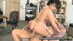 Cute brunette Zoey Holloway rides on his whacker and sucks him again