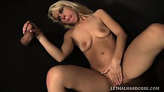Striking blonde with a perfect ass Lauren Nicole sucks a big rod in the confession booth