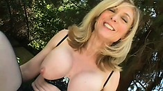 Milky white MILF eats his delicious dick and gets drilled POV style
