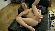 Rocco films horny brunette riding one of her big toys going solo
