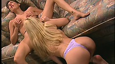 A couple of horny lesbians get into some wild girl-on-girl fun