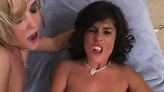 Wild blonde and a frisky brunette let an insatiable guy fuck their brains out