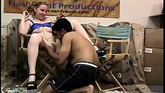Dirty brunette spreads her legs for a young stud to slam her pussy