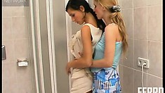 In the bathroom, Leah and Janet seize the chance to satisfy their lesbian desires