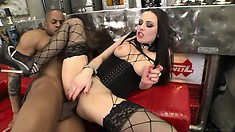 Fine ass brunette with a goth look gets rammed by a black cock