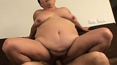 Fat as fuck trailer park whore gets porked balls deep on the couch