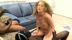 Slutty blonde mom with tiny tits has four black guys sharing her holes