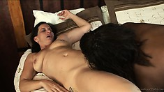 Sweet brunette and black babes Melissa Monet and Wendy Breeze fingering pussy