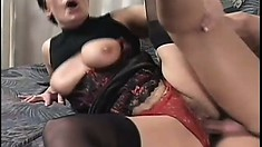 Brunette tomboy gets her mature cunt slammed by a younger dick