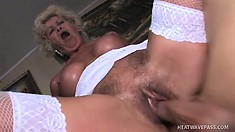 Chubby mature woman with hairy slut is busted by young stallion