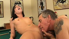 Buxom blonde watches a sexy brunette getting fucked by a horny old man