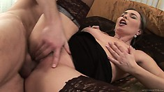Slutty brunette mom takes on her horny son in law and gets nailed hard