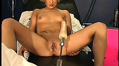 Sweet Amber loves test driving various hardcore sex machines