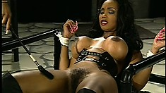 Naughty tied-up slave gets her titties tortured by leather mistress
