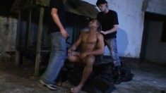 Pesky cop gets tag team fucked as they pay him back with an ass fuck