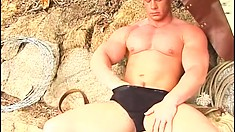 Mark Dalton gets totally naked and diddles his cute dick outdoors