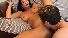 Horny Latina with big boobs invites a young stud to fulfill her sexual desires