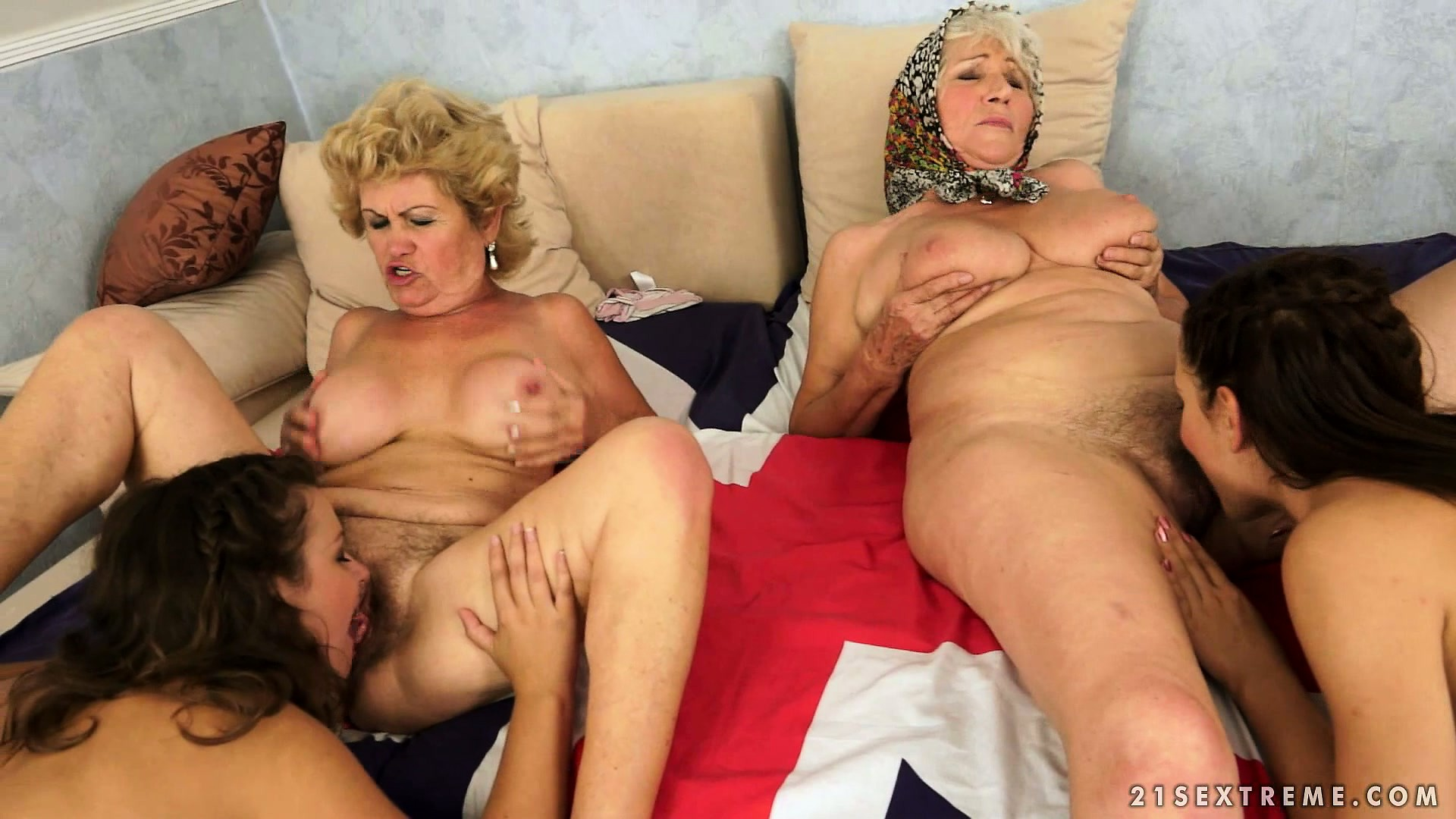 Mature and young lesbian orgy