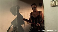 Mistress Kathia has two little sluts she ties up so she can torture them