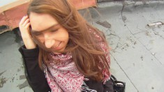 Slutty bitch gets nailed on the roof and sucks out his cum load