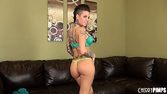 Tattooed hottie Christy Mack looks so sexy in her bra and panties