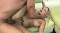 Insatiable blonde bimbo gives her big ass up for some heavy slamming