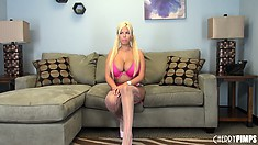 Bridgette B is a bodaciously breasted blonde babe that likes solo action