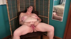 Busty mom Lisa sits on a chair and lets her imagination take control