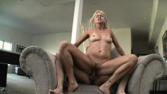 Lustful blonde mom Payton Leigh does everything to a young stud's cock