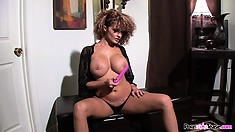 Joslyn James is a horny bitch who loves to finger and toy her hole